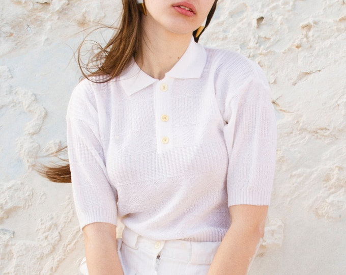 Vintage white knit polo top deadstock