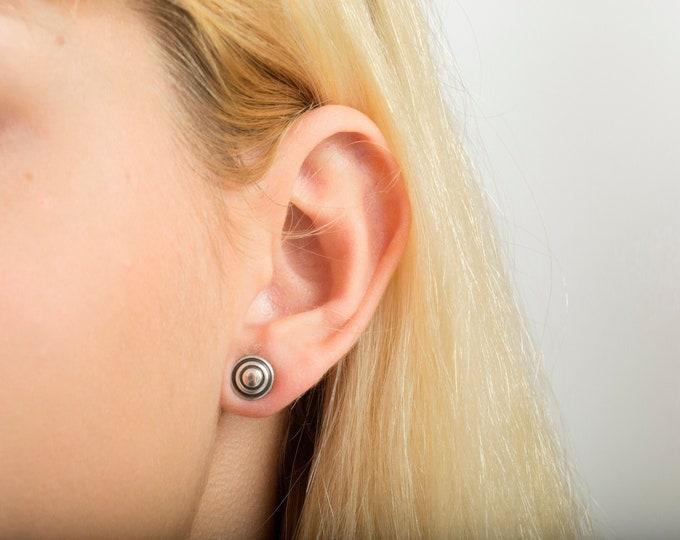 Vintage earings silver circles deadstock