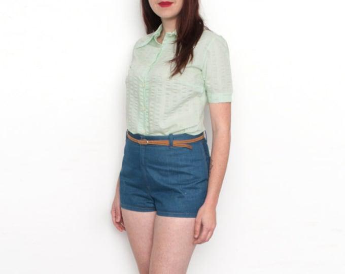 NOS Vintage pastel  mint green 70s blouse