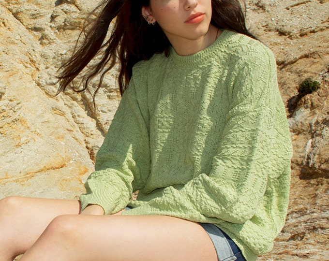 oversized sweater 90s NOS vintage light green oversized sweater