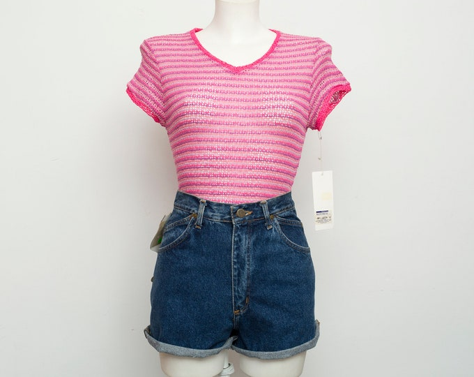 NOS vintage stripped hot pink sheer top