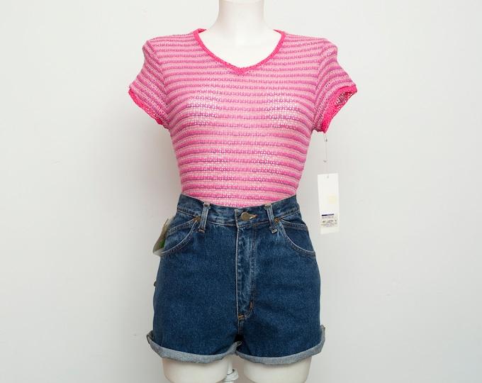 NOS vintage stripped hot pink sheer top