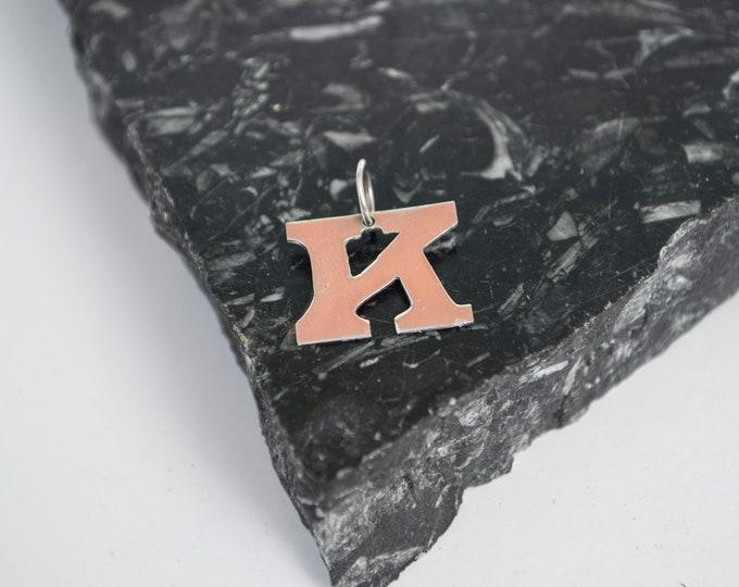 initial letter K pendant silver deadstock retro font