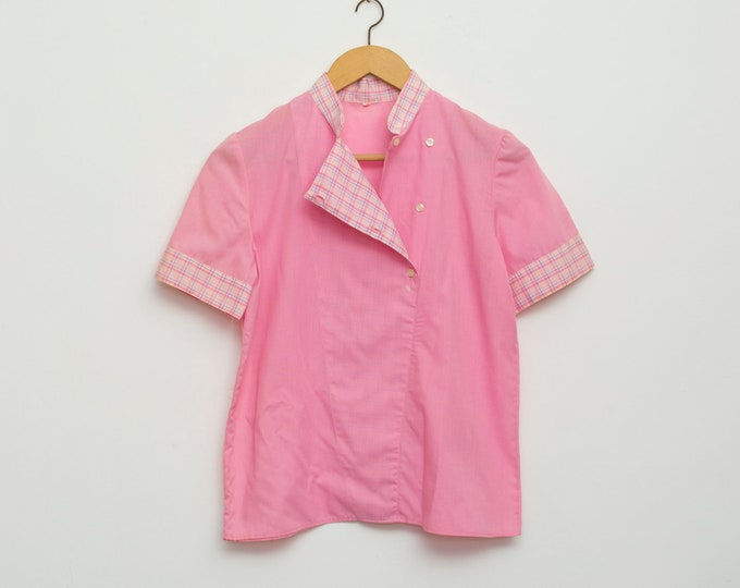 NOS vintage 80s pink preppy shirt blouse plaid