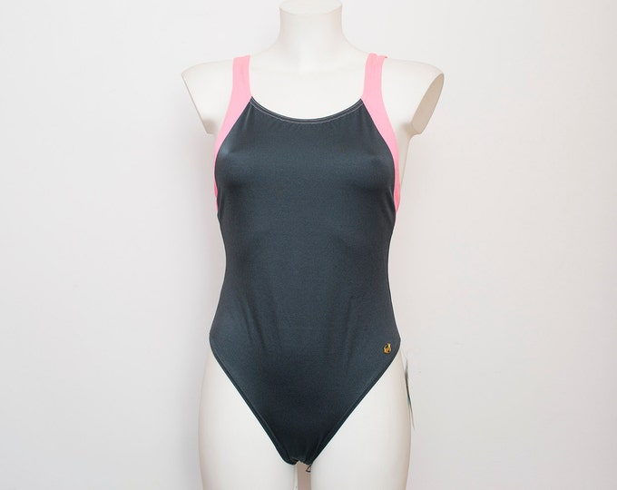 swimmsuit 90s grey and pink deadstock Vintage