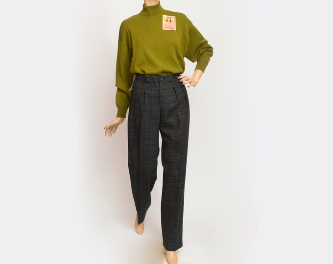 NOS Vintage wooly blue green checked pants