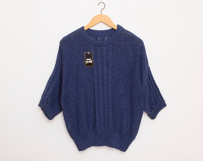 Sweater 90s blue oversized sweater deadstock vintage