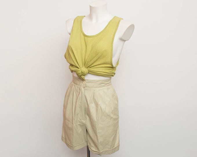 Vintage beige Bermuda Shorts high waist cotton Dead stock 90s