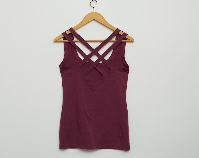vintage vest in dark purple dead stock