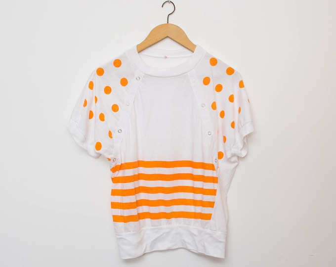 NOS vintage 90s tshirt white orange stripes polka dot