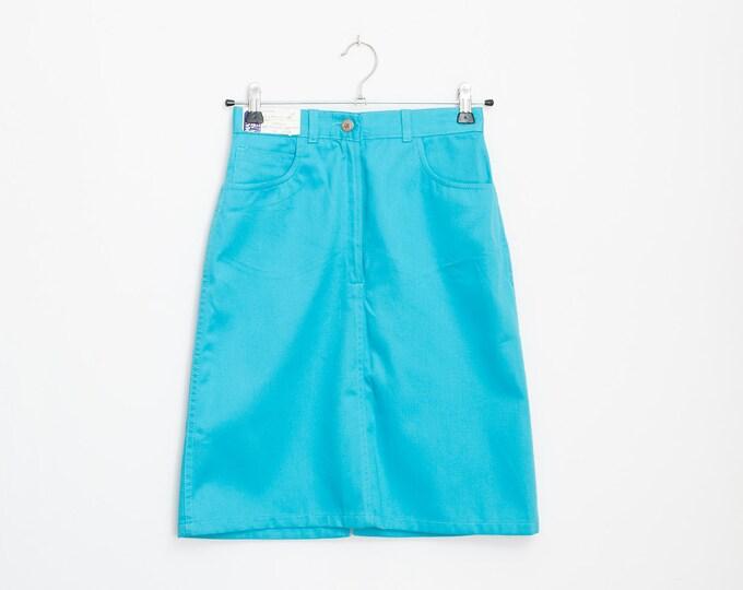 cyan blue Denim  skirt high waist NOS Vintage size w29