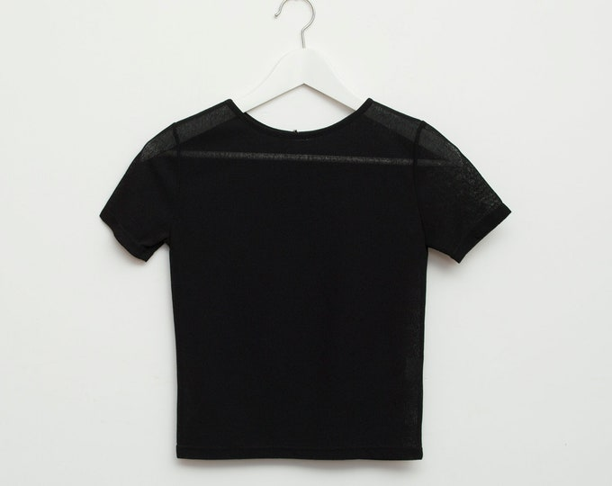vintage 90s tshirt deadstock black sheer