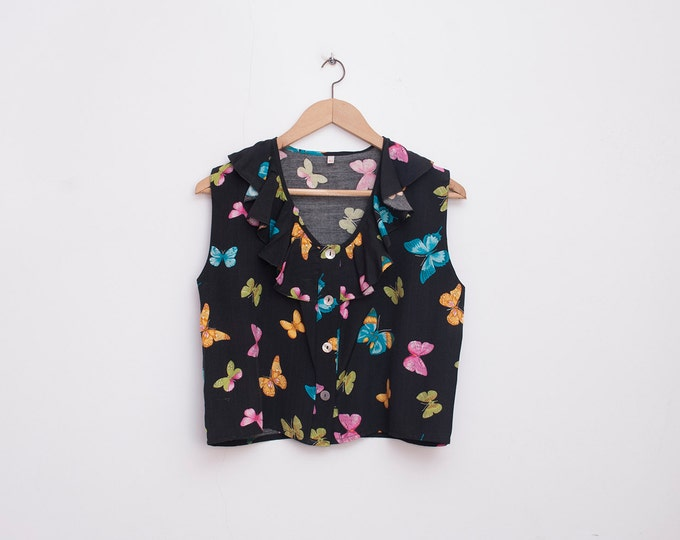 NOS vintage black crop top shirt butterflies
