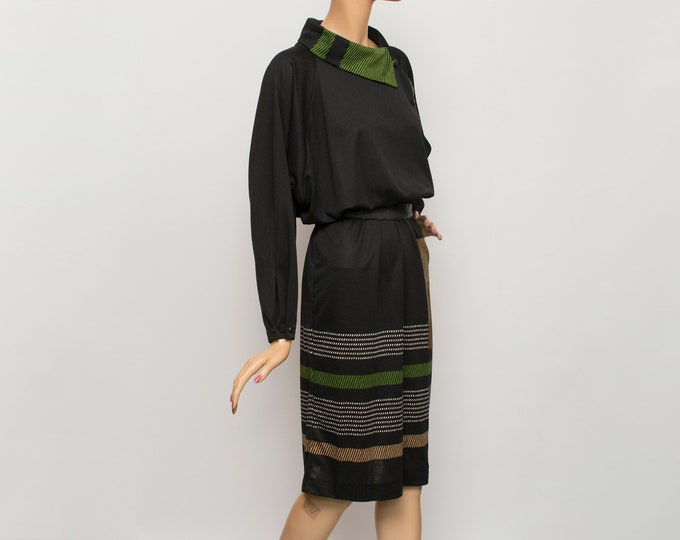 80s Vintage black green dress  dead stock