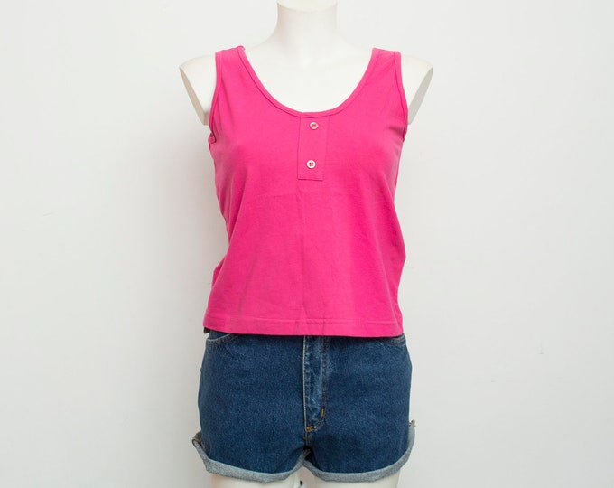 NOS vintage plain hot pink top