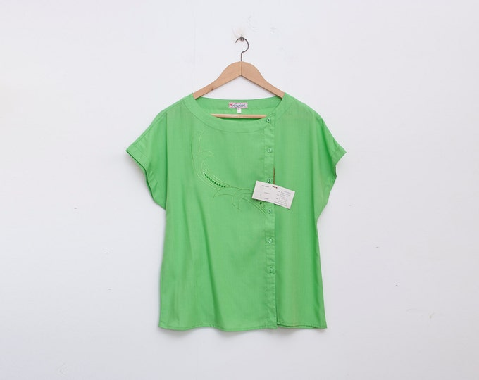 NOS vintage 80s shirt blouse green box top