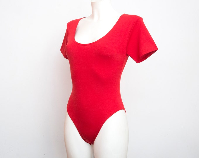 NOS vintage 90s red bodysuit top size  S