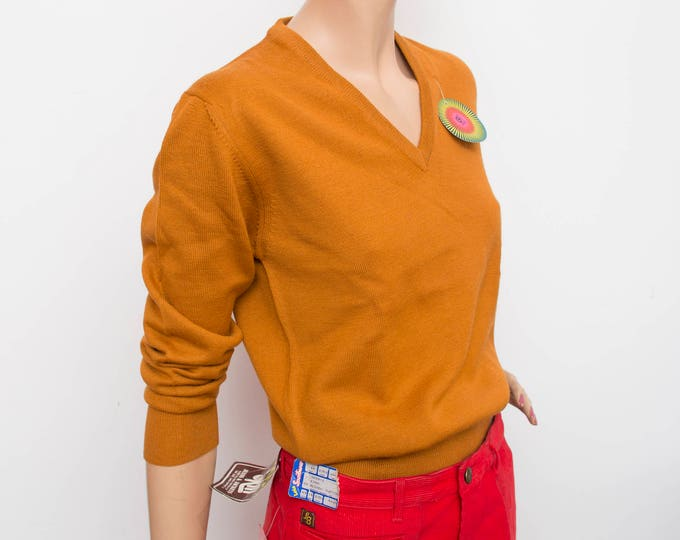Sweater NOS vintage orange Vneck sweater