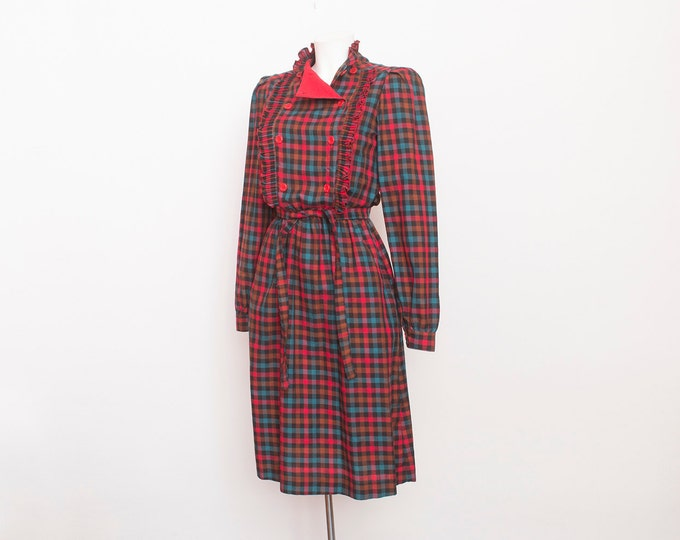 Plaid dress NOS vintage red buttons up front