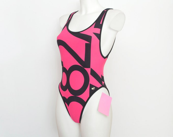 hight cut 90s one piece NOS Vintage black hotpink Size S
