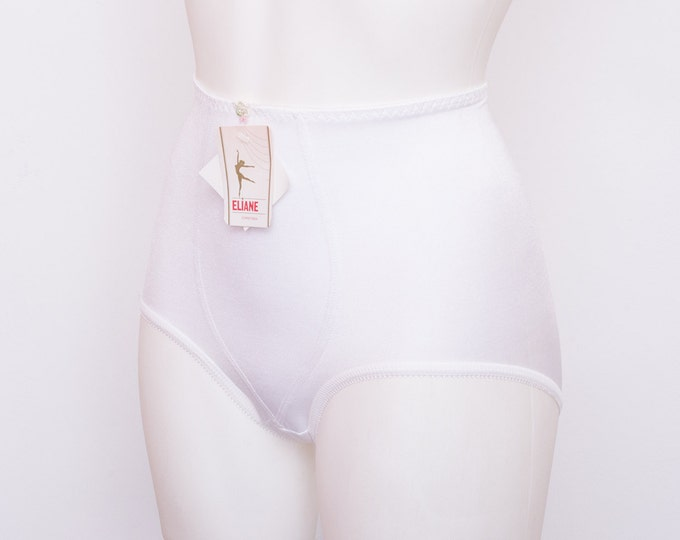 high waist panties girdle white dead stock Vintage size XS
