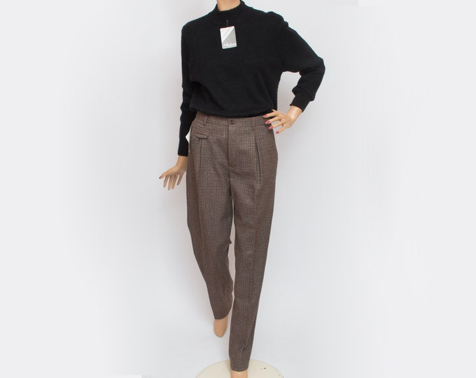 NOS Vintage wool brown checked pants