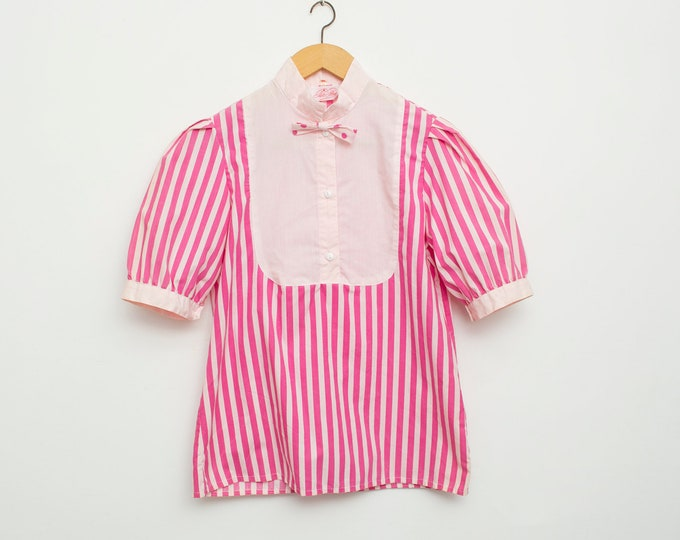 NOS vintage 80s preppy striped pink and white shirt blouse with pink bowtie