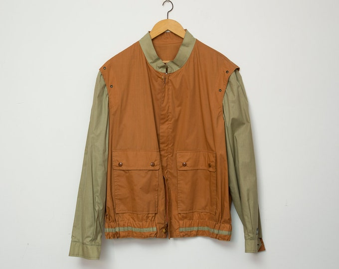 80s jacket NOS vintage brown summer reversible jacket