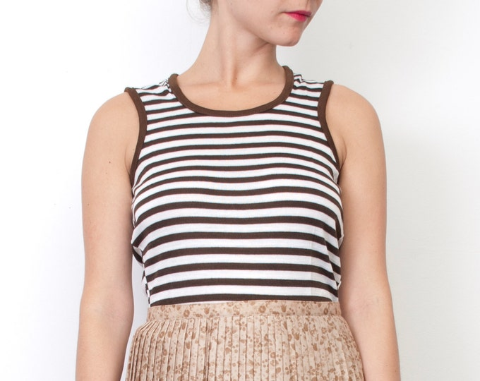 Brown and white striped sleeves tank NOS vintage size S / XS