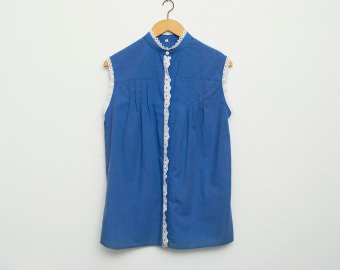 NOS vintage 80s blue sleeveless shirt blouse with lace rim