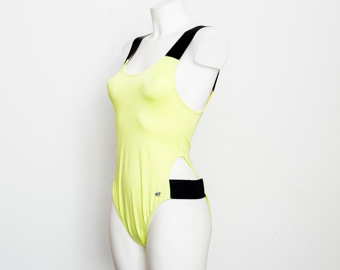 swimmsuit 90s neon yellow and  black NOS Vintage