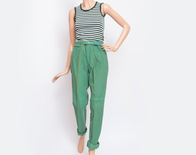 NOS Vintage 80's green corduroy pants trousers