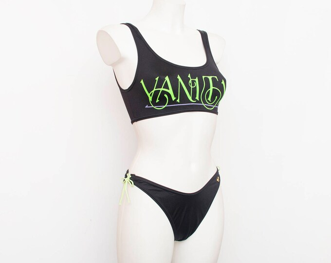 hight cut 90s bikini NOS Vintage black and neon Size S