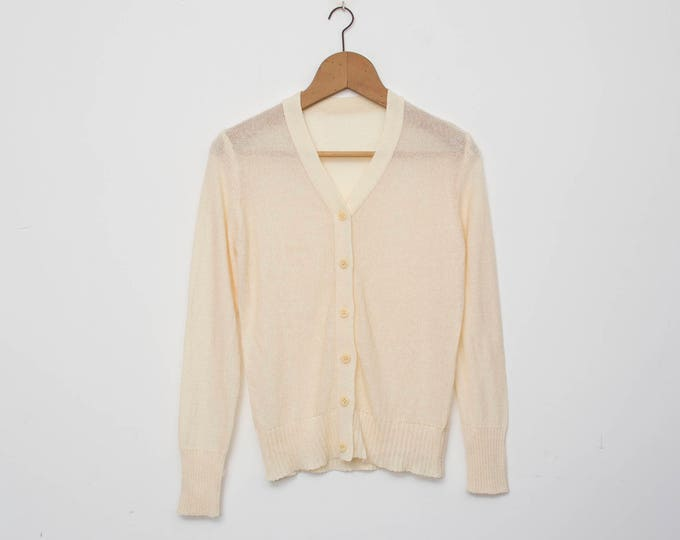 Vintage cardigan white deadstock knit
