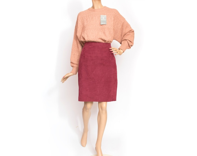burgundy pencil Skirt NOS Vintage peach skin fabric