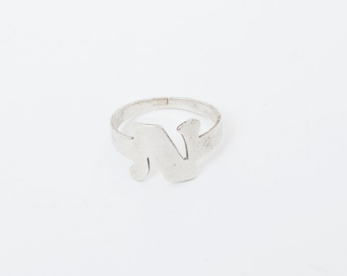 Vintage ring sterling silver N initial letter