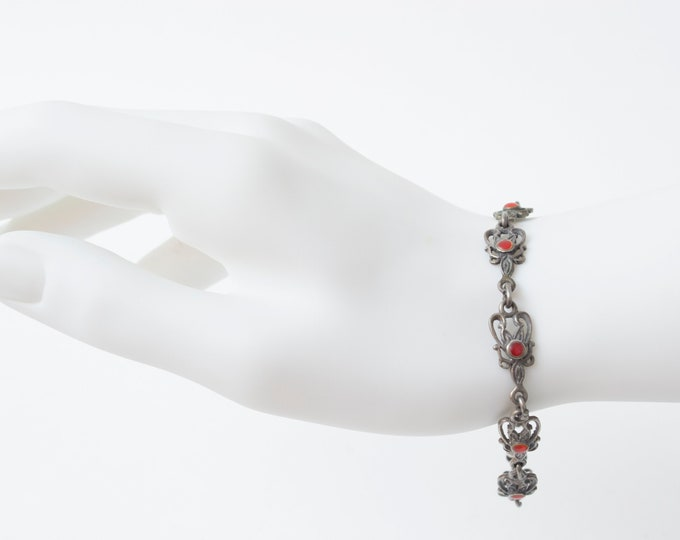 Vintage silver bracelet gothic romantic style deadstock in 3 colors