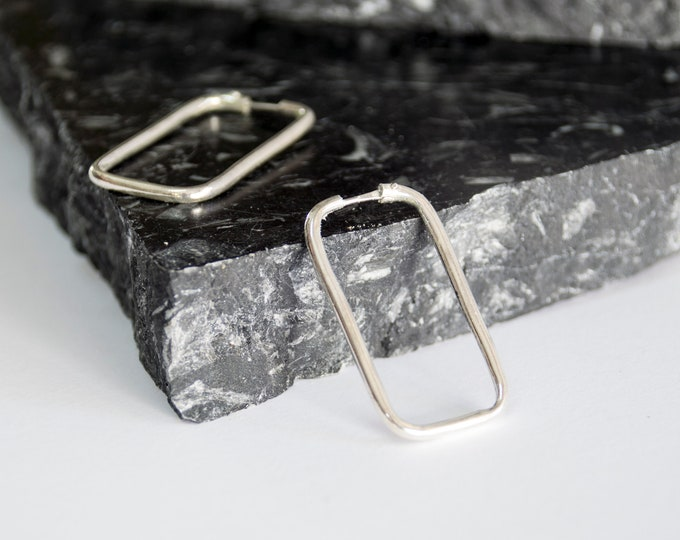Vintage earings silver hoops rectangle deadstock S