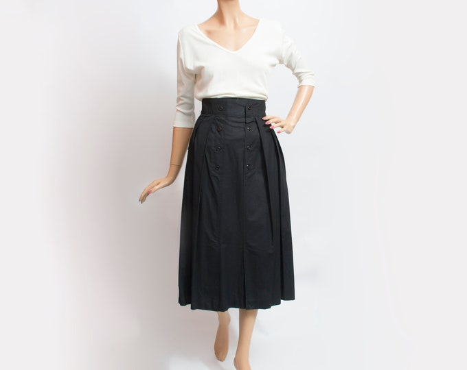 NOS Vintage black long Skirt pleats front buttons