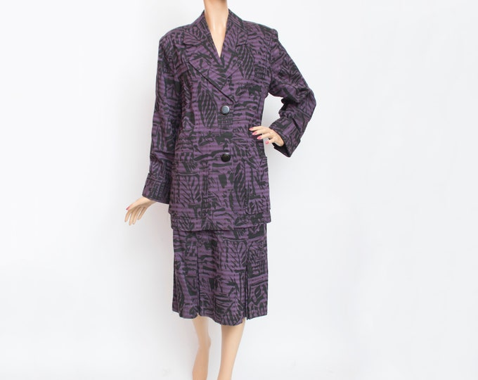 Vintage dead stock 80s purple black jacket and skirt set