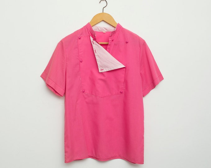 NOS vintage 80s hot pink preppy shirt blouse