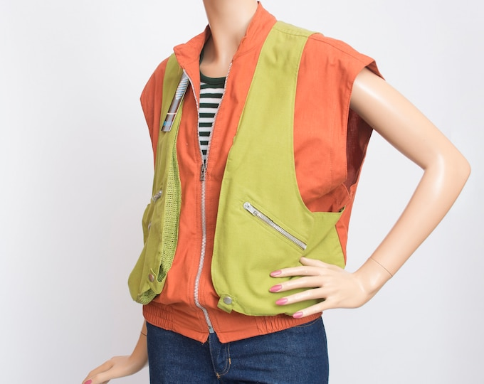 80s jacket NOS vintage red and green summer vest jacket