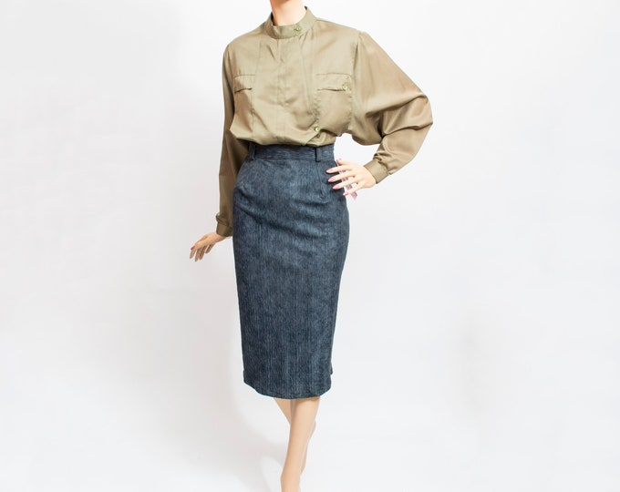 Vintage gray pencil Skirt textured 80s deadstock vintage