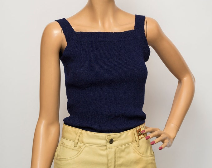 NOS vintage blue knit tank top sweater