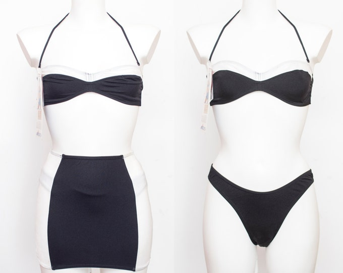 NOS Vintage bikini with skirt black and white Size S  90s
