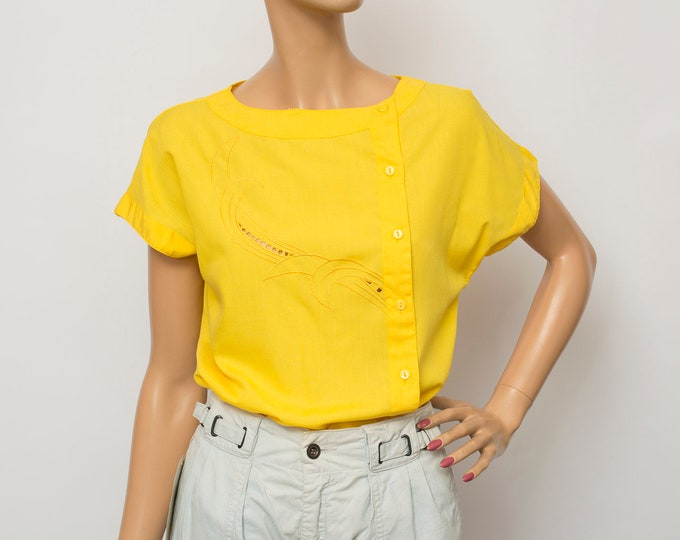 NOS vintage 80s shirt blouse yellow box top
