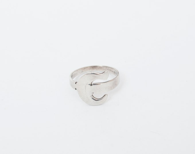Vintage ring sterling silver E initial letter