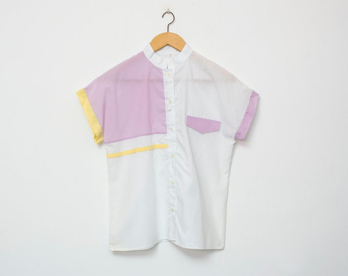 80's White purple blouse NOS Vintage Size S