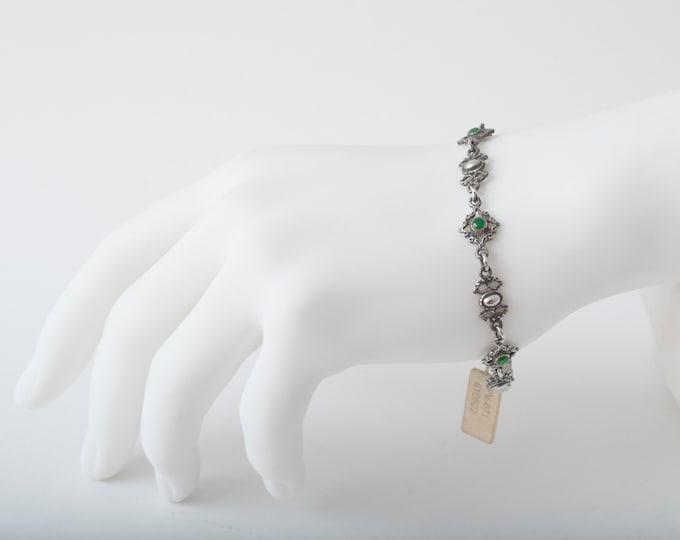 Vintage silver bracelet gothic romantic style deadstock