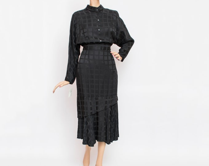 Vintage black check shirt and skirt set dead stock